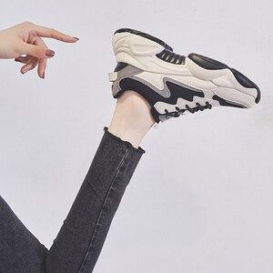 Image 5 - 2020 インホット販売春ファッション女性カジュアルシューズ革の厚底靴女性スニーカーレディースホワイトトレーナー Chaussure ファム