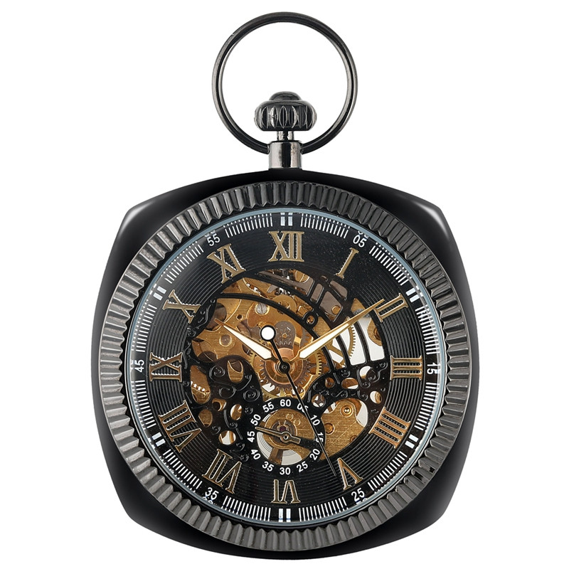Antique Black/Silver/Gold Mechanical Pocket Watch Unique Square 30cm Snake Chain Hand Winding High Graded Clock Art Collectibles