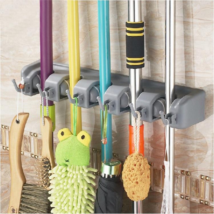 Manufacturers Wholesale Multi-functional Plastic Mop Rack Broom Rack Bathroom Cleaning Shelf Storage Entrainment Hook