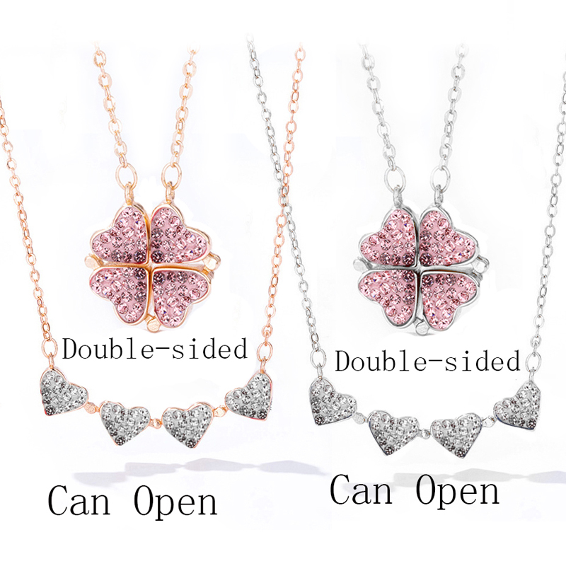 Four Heart Clover Necklace Crystal Lucky Grass Collar Fashion Women Girl Clavicle Choke CLOVER JEWELLERY
