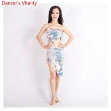 ผู้หญิงBelly Dance 2 ประเภทเสื้อผ้าBling Blingชุดเต้นรำBra + กระโปรง 2Pcsละตินชุดเต้นรำเสื้อผ้าแฟชั่นS,M,L