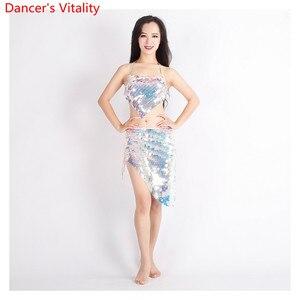 Image 1 - Mulheres dança do ventre 2 Tipos de roupas Que Bling Bling Do Terno Dança Bra + Saia 2Pcs Dança Latina Terno Roupas Da Moda S,M,L