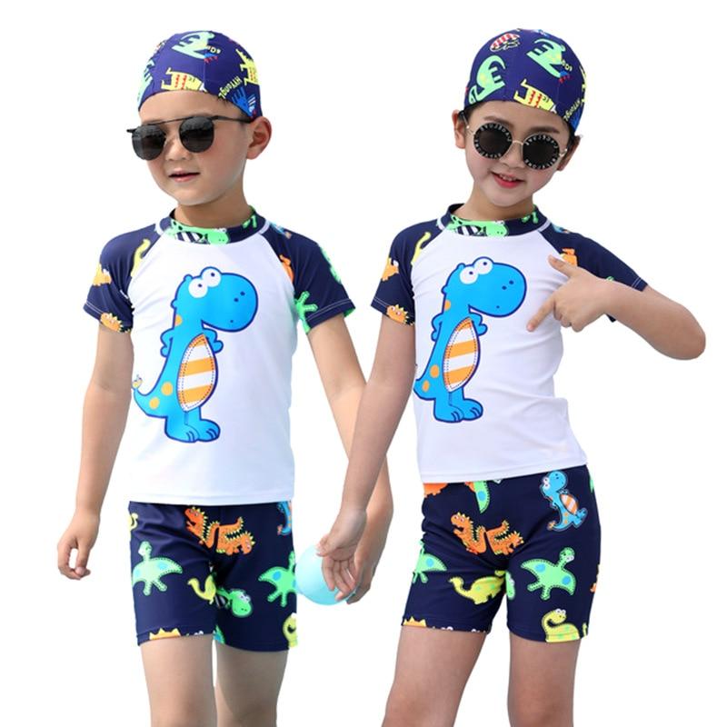 KID'S Swimwear Split Type Quick-Dry Beach Cartoon Dinosaur Swimming Pool Infant Men And Women Children Bathing Suit Three-piece