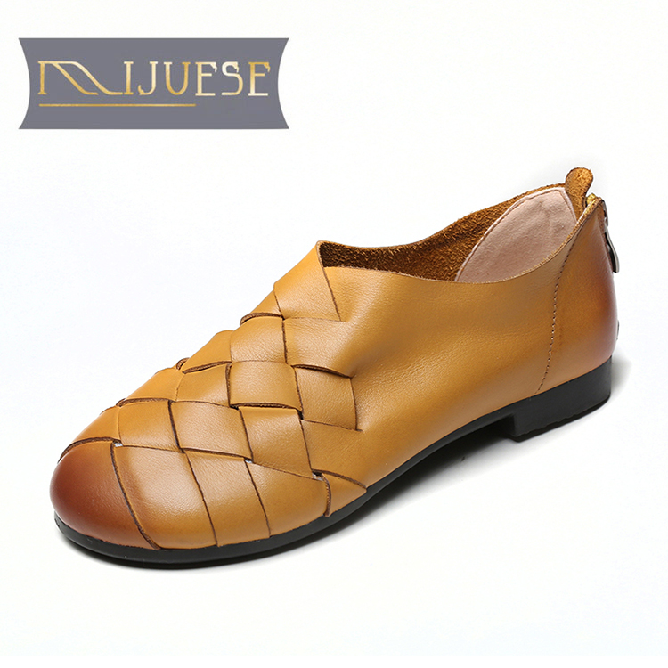 MLJUESE 2021 Women Pumps Soft Cow leather Autumn Spring Zippers Cut-outs Vintage Brown Color Round toe Low heels pumps Size 40
