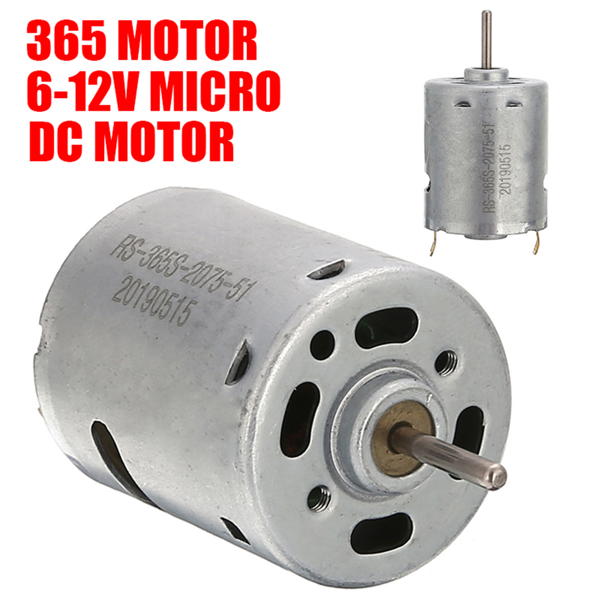 DC 6-12V 5000RPM High Speed Mini DC Motor 365 Low Noise for DIY Small Magnetic Electric Drill Motor