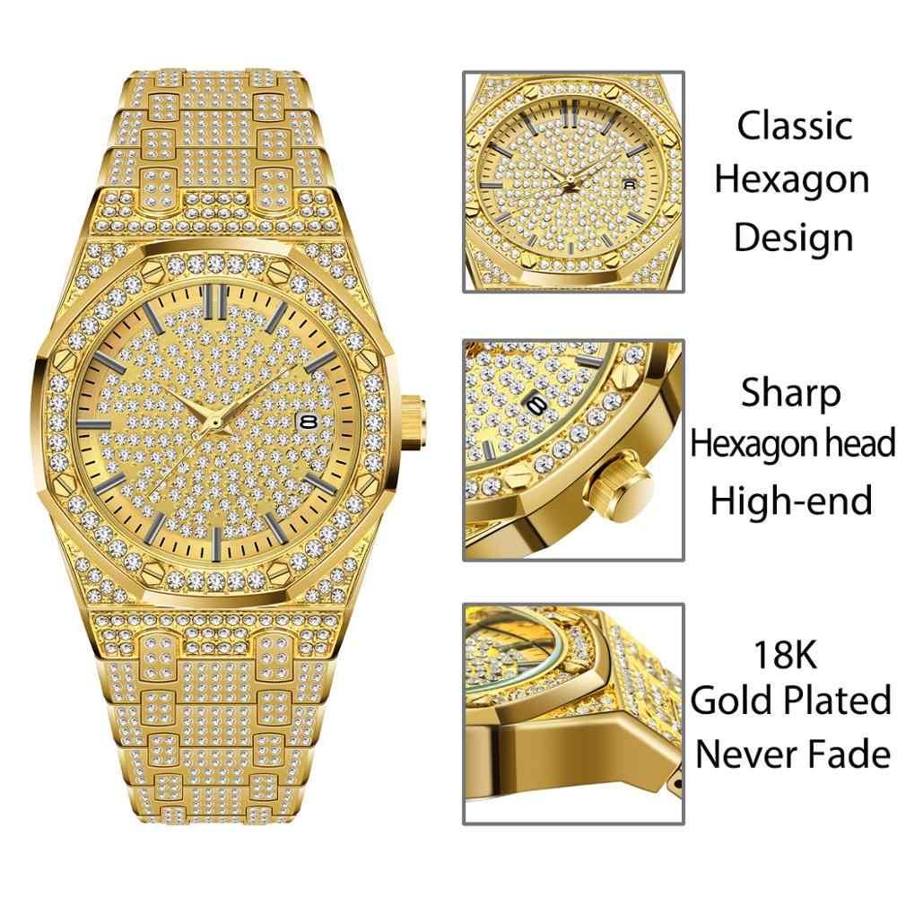 Relogio Masculino MISSFOX رجالي ساعات ماركة فاخرة AAA جودة عالية Ap الماس 18K الذهب الصلب 30 متر أسورة ضد الماء الرجال ساعة
