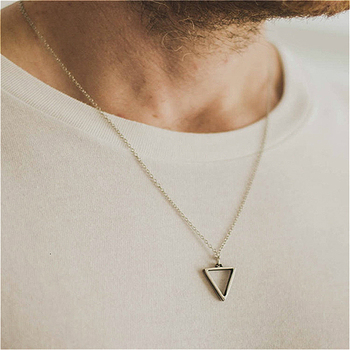 Necklace Men Women Triangle Long Chain Necklace for Men Pendant Mens Choker Hip Hop Gothic Punk Party Fashion Jewelry 2020 sitaicery simple men twist oblate wide chain necklace party jewelry birthday gift new hip hop gothic fashion cuban link chain