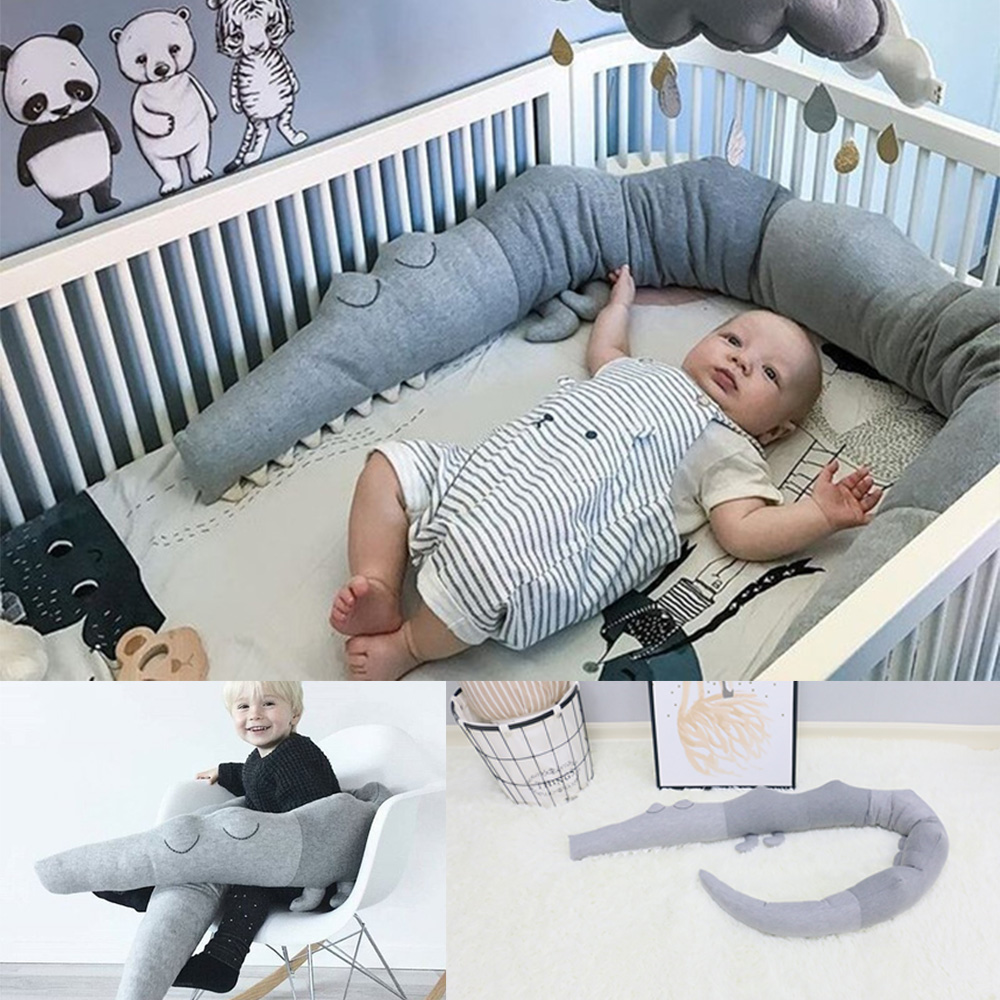 Newborn Baby Bedding Cartoon Baby Crib Bumper Crocodile Pillow Infant Cradle Kids Bed Fence Baby Decoration Room Accessories