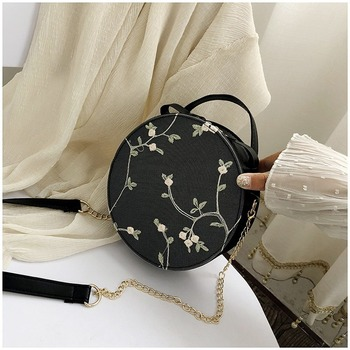 Bags for Women 2020 Sweet Lace Round Handbags PU Leather Crossbody Female Small Fresh Flower Chain Shoulder