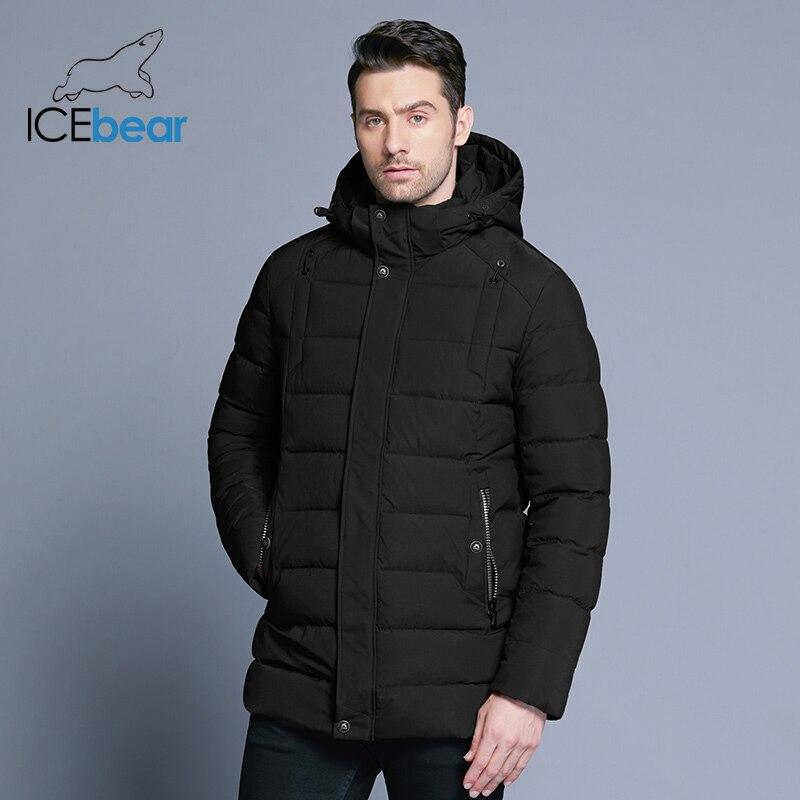 ICEbear 2019 nueva chaqueta de invierno para hombre cálido sombrero desmontable abrigo corto para hombre moda casual ropa de marca para hombre MWD18813D