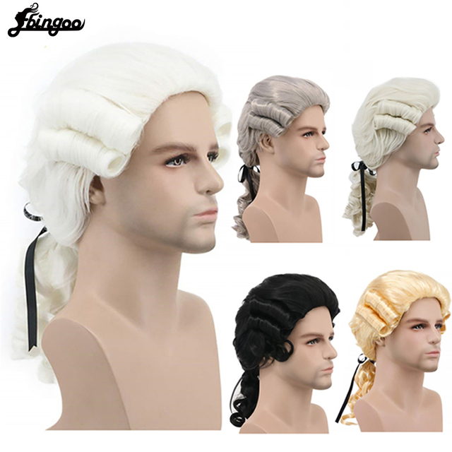 Ebingoo Grey Black White Lawyer Judge Baroque Curly Male Costume Wigs Deluxe Historical Long Synthetic Cosplay Wig for Halloween
