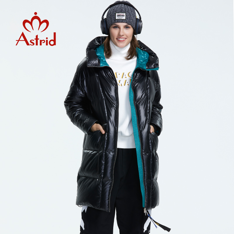 Astrid 2019 Winter new arrival women   down   jacket red top color with a hood   down     coat   with zipper long winter   coat   women AR-3003