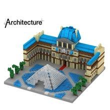 LegoINGlys creators city Street view Louvre Museum in Paris France mini micro diamond building blocks model bricks toys for gift in stock lepin 15015 5003pcs city street the dinosaur museum model building kits blocks bricks compatible children toys gift