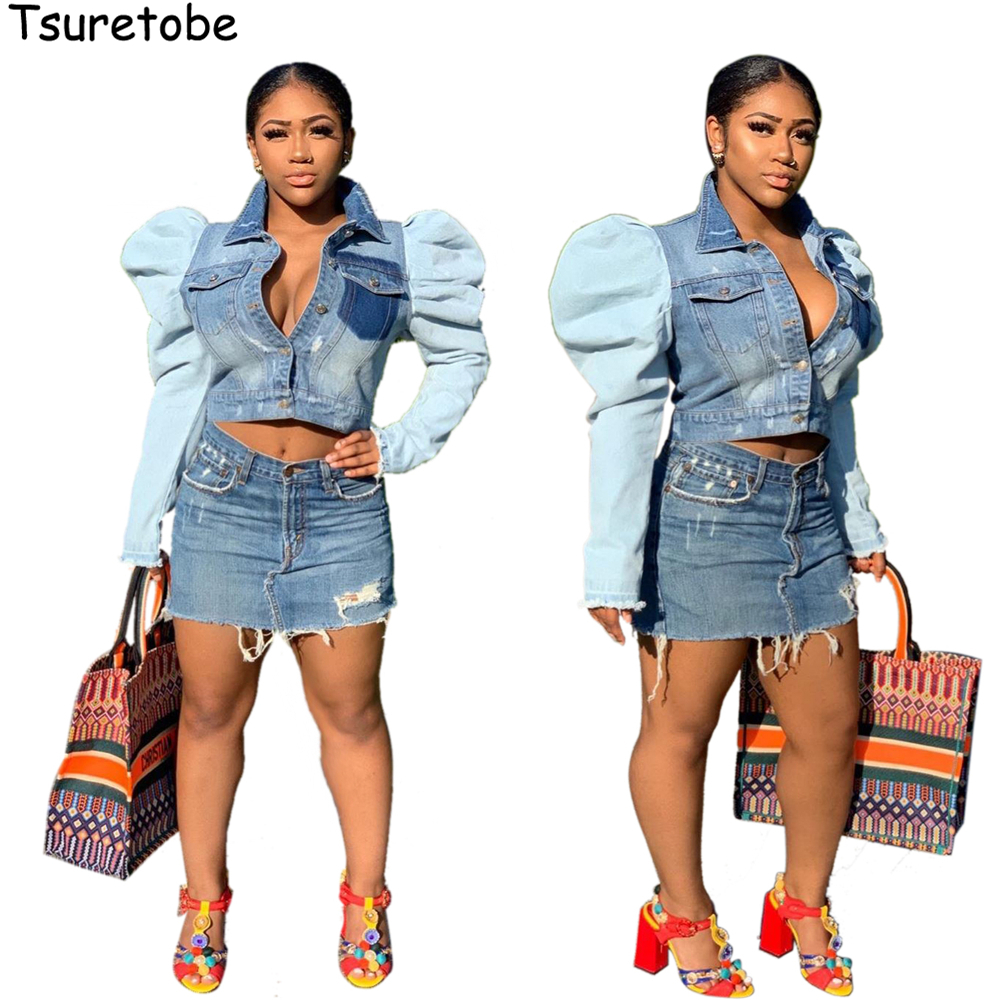 Tsuretobe Patchwork Crop Jeans Jacket Women Puff sleeve Denim Jacket Pleated Party Short Coat Single-Breasted Outerwear Female