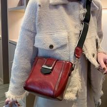 Solid Color Fashion Messenger Bag Women Hasp Zipper Shoulder Bags Popular Trend Large Capacity Leather  Messenger Bag C50