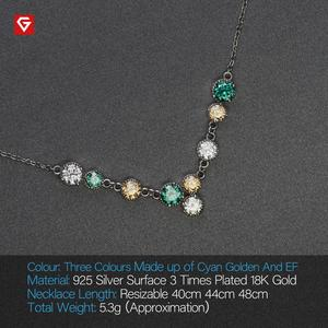 Image 4 - GIGAJEWE 3.6ct EF Cyan Golden Round Cut 18K White Gold Plated 925 Silver Moissanite Necklace Diamond Test Passed Jewelry Gift