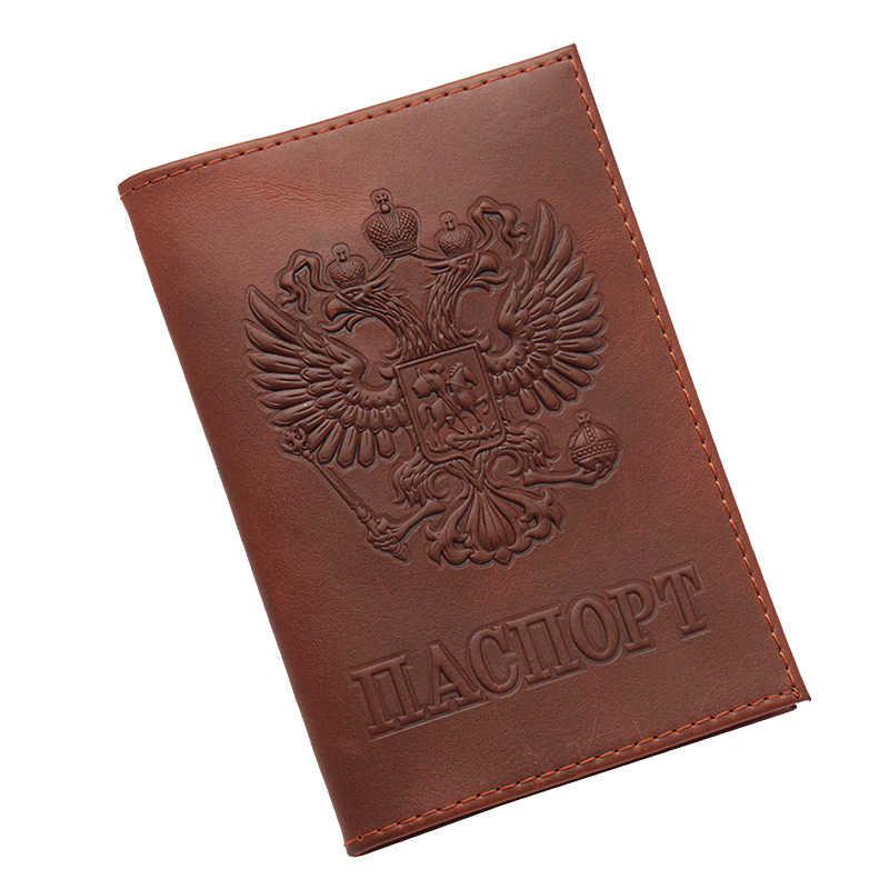 Mcneely Russia Embossing Real Genuine Leather <font><b>Passport</b></font> Cover with Credit Card ID Holder Case Travel Business Wallet image
