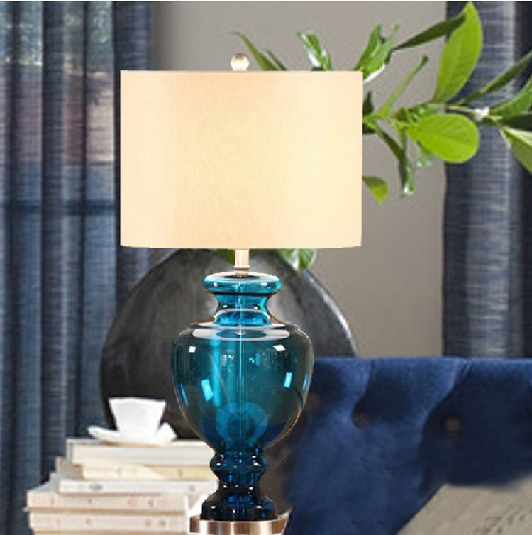 TUDA Free Shipping Blue Gourd Vase Glass Table Lamp For Living Room Bedroom Bedside Lamp  220v 110v EU Plug Art Deco