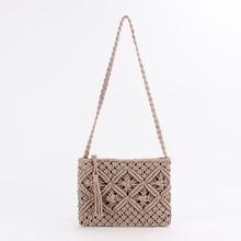 Сумка мессенджер с кисточками и ручками, хлопковый ремешок через плечо, плетеная сумочка ручной работы для женщин