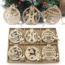 12PCS DIY Gift Box Christmas Wooden Pendants Xmas Tree Ornament Vintage Wood Crafts Kids