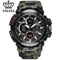 SMAEL, камуфляжные военные часы, мужские водонепроницаемые часы с двойным дисплеем, мужские спортивные наручные часы, цифровые аналоговые ква...