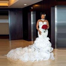 Aso ebi high-neck crystal long-sleeved beaded ruffled backless wedding dress plus size