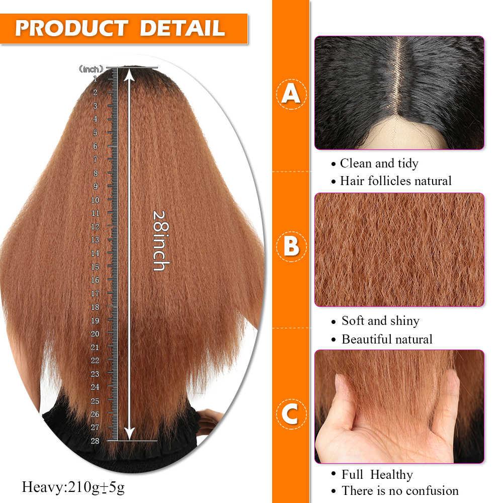 """28 """"peluca frontal de encaje sintético recto rizado sin pegamento Peluca de Cosplay para mujeres negras de alta densidad de pelo de la ciudad de la exposición"""