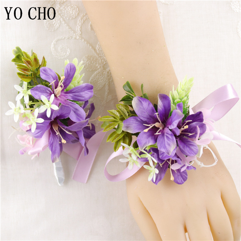 Purple Wrist Corsage Bracelet For Bridesmaid Silk Flowers Wedding Bracelet Boutonniere Buttonhole Wedding Marriage Groom Corsage