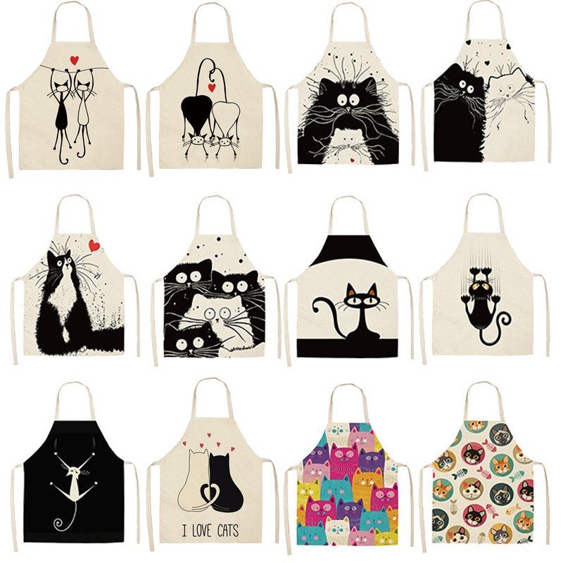 1Pcs Kitchen Apron Cute Cartoon Cat Printed Sleeveless Cotton Linen Aprons For Men Women Home Cleaning Tools 53*65cm WQ0029