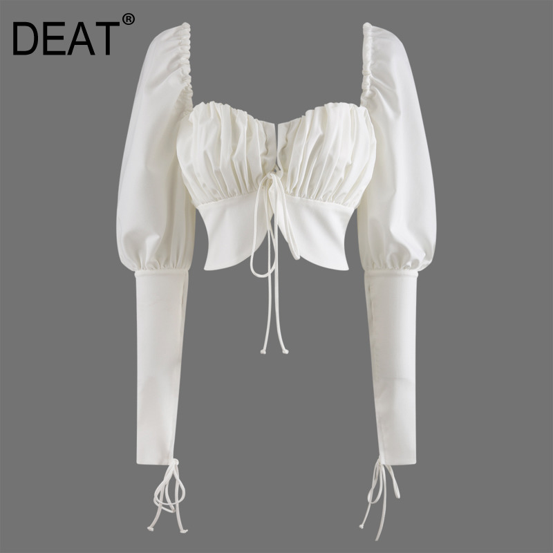 DEAT 2020 New Summer Fashion Women Clothing Square Collar Palace Bubble Sleeve High Waist Short Chest Cross Sexy Top WL905