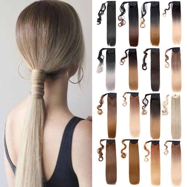 Pelo falso de cola de caballo ondulado de 22 pulgadas Mtmei para mujer, Clip largo y recto en extensiones de pelo de cola de caballo, cola de Pony rubia|Colas de caballo sintéticas|   -