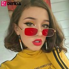 DENISA Small Vintage Rectangle Sunglasses Women Fashion Retr