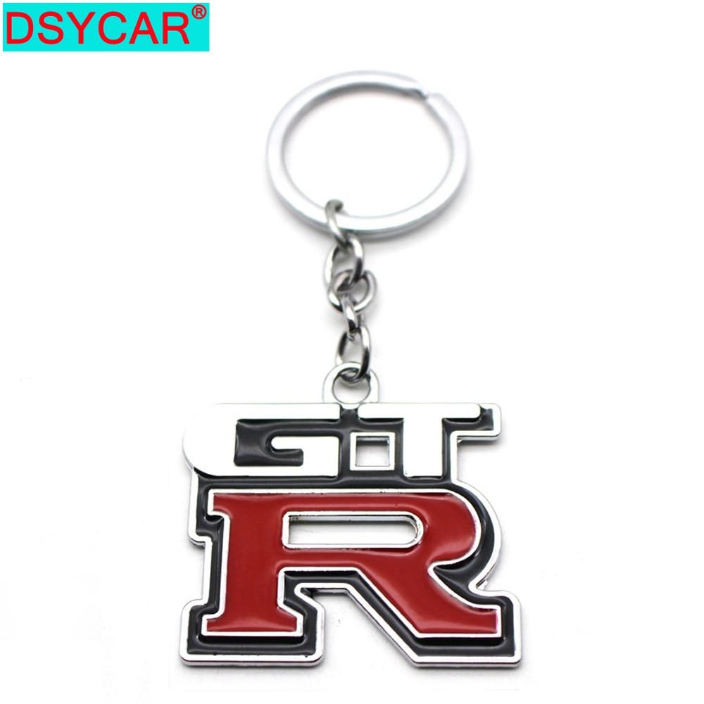 DSYCAR 1Pcs Zinc Alloy Grill Key Chain Keychain Metal Chrome Ring For Nissan GTR New
