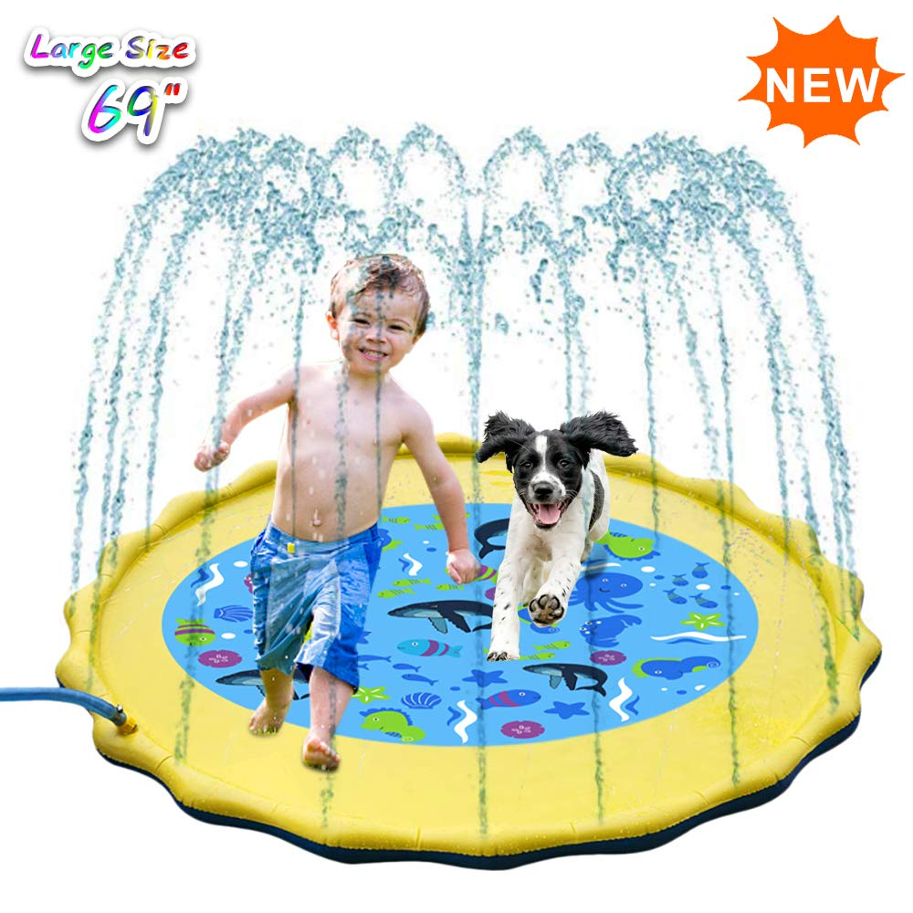 Inflatable Splash Pad Sprinkle Splash Play Mat Outdoor Backyard Sprinklers Toys For Kids Dogs Fountain Baby Water Wading Pool