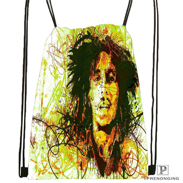 Custom IBob-Marley-Quotes Drawstring Backpack Bag Cute Daypack Kids Satchel (Black Back) 31x40cm#180612-02-18