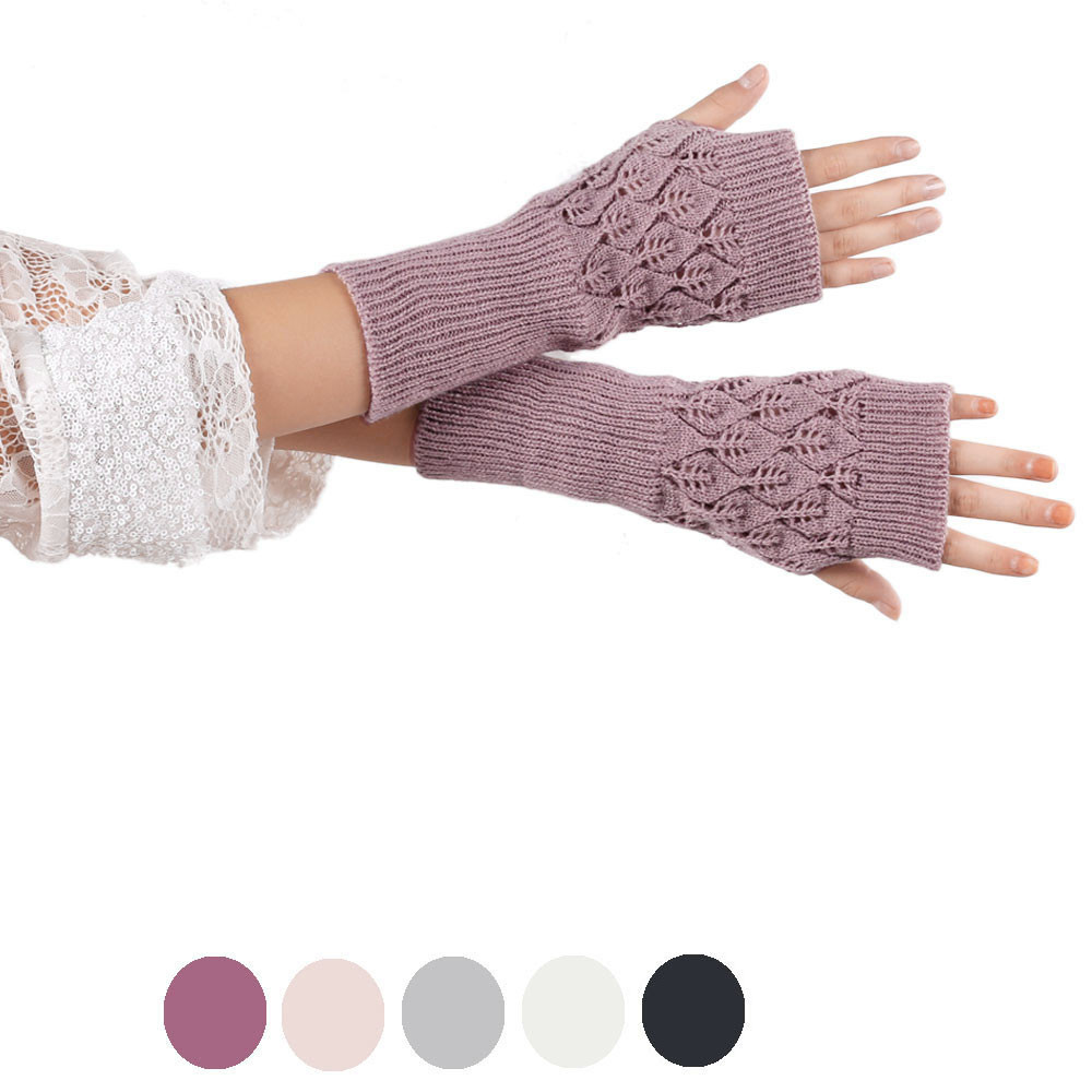 High Quality Gloves Winter Gloves Women Wool Knitted Fingerless Gloves Hollow Out Leaves Long Section Long Mittens Cashmere 10