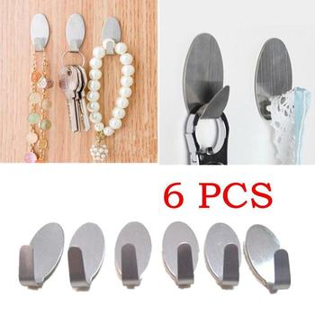 6Pcs New Hat Robe Stainless Steel Wall Hanger Hocks kitchen Bathroom Tool Set image