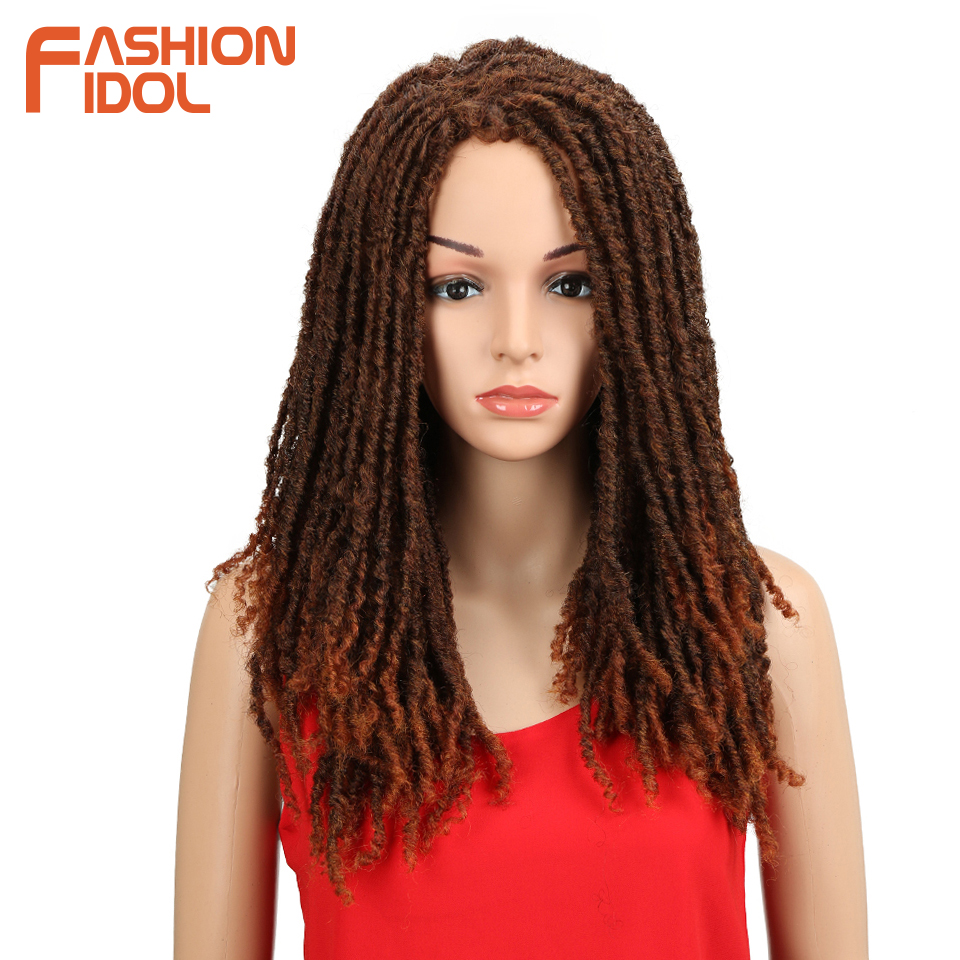 FASHION IDOL 22 Inch Synthetic Wigs For Black Women Crochet Braids Twist Jumbo Dread Faux Locs Hairstyle Long Afro Brown Hair