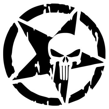 Calcomanía de vinilo con gráficos geniales de cráneo de Estrella militar del ejército para motocicleta, SUV, parachoques, coche, camión, pegatinas de ventana