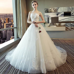 Tube-Top Wedding-Dress Bride White Trailing Simple Luxury Lace Forest Fairy Small-Height