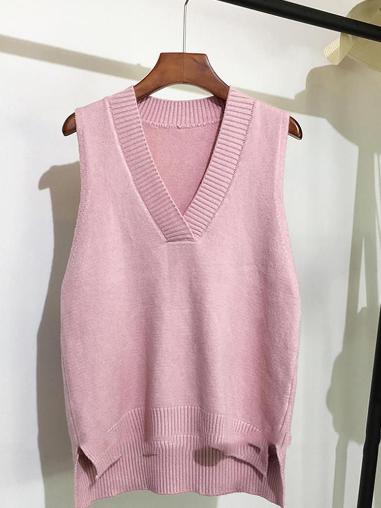 Вязаный свитер, жилет для женщин, без рукавов, v-образный вырез, однотонный, Осень-зима, новинка, корейский стиль, свободный, дикий, Повседневн...