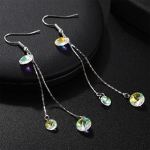 of the new crystal tassels long earrings temperament super flash color earrings ear hook, senior fashion earrings ancient ways the new 2019 noble elegant circle mesh hollow out long tassels of pearl earrings earrings and collars
