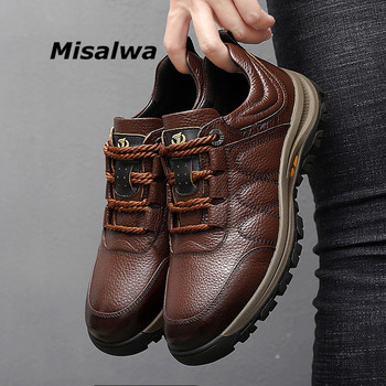 Misalwa Genuine Cow Leather Shoes for Men Outdoor Wear-resistant Work Shoes Casual Sneakers Men Footwear Autumn Comfortable camel comfortable casual shoes matte genuine leather men shoes anti man wear resistant tooling footwear fashion mocassins homens