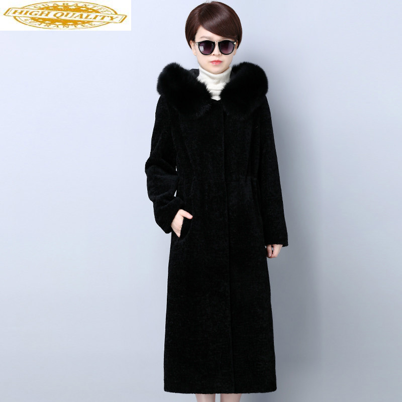 Real Fur Coats For Women Plus Size Sheep Sheared Wool Coat Winter Thick Long Jacket With Natural Fox Fur Collar KJ540