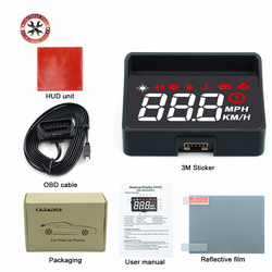 Original A100S With Lens Hood Windshield Projector OBD2 II EUOBD Car HUD Head Up Display Overspeed Warning System Voltage Alarm