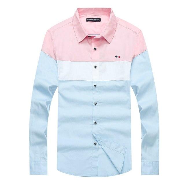 Winter casual Shirt Marke Harmont & Blaine Herren Business Eden Beiläufige Lange Ärmeln park Hemd Patchwork Männlichen Sozialen Kleid Shirts