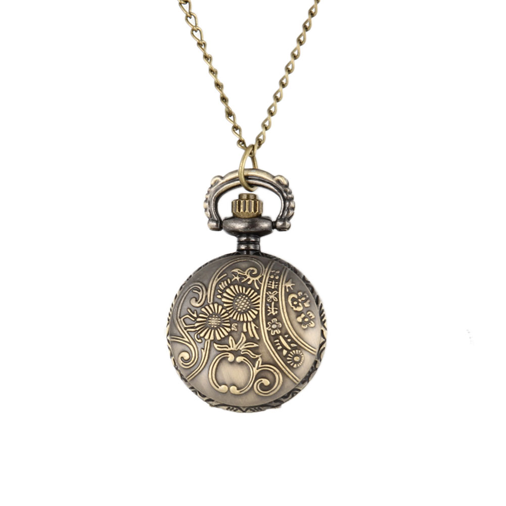 Men Pocket Watch Retro Bronze Tone Round Shape Spider Web Pattern Watches With Chain Necklace SSA-19ING