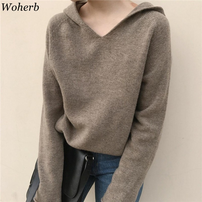 Woherb Spring Winter Hooded Sweater Women Sweaters Knitted Ladies Loose Casual Jumpers And Pullovers Elegant Solid Pull Femme