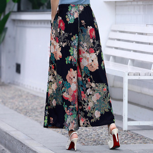 Image 2 - 2020 여성 여름 캐주얼 레트로 프린트 보헤미안 와이드 레그 팬츠 하이 웨이스트 와이드 레그 팬츠 신축성있는 허리 비치 홀리데이 바지