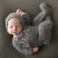 Newborn footed romper photography props,handmade mink yarn outfits bodysuit with bonnet baby photography props